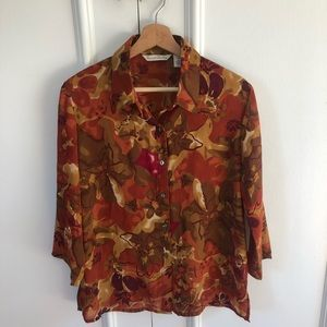 French Laundry Button Up Floral 3/4 Sleeve Blouse
